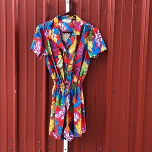 Vintage 80s Hawaiian Print Cotton Short-all Romper